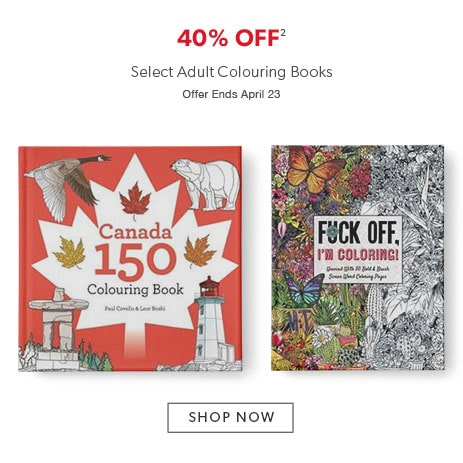 40% off select colouring books for adults