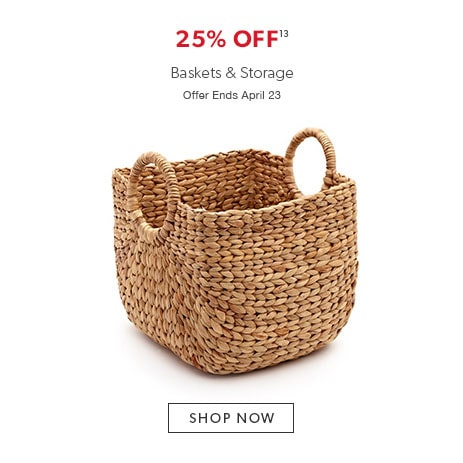 25% off baskets and storage