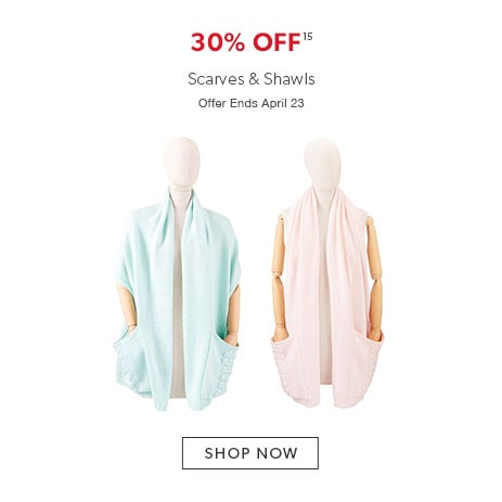 30% off scarves and shawls