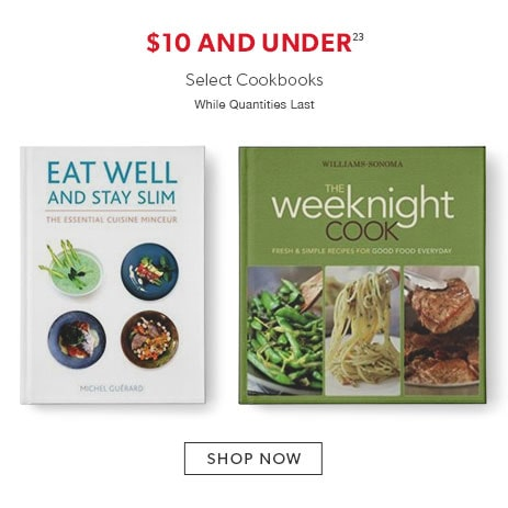 select cookbooks, $10 and under