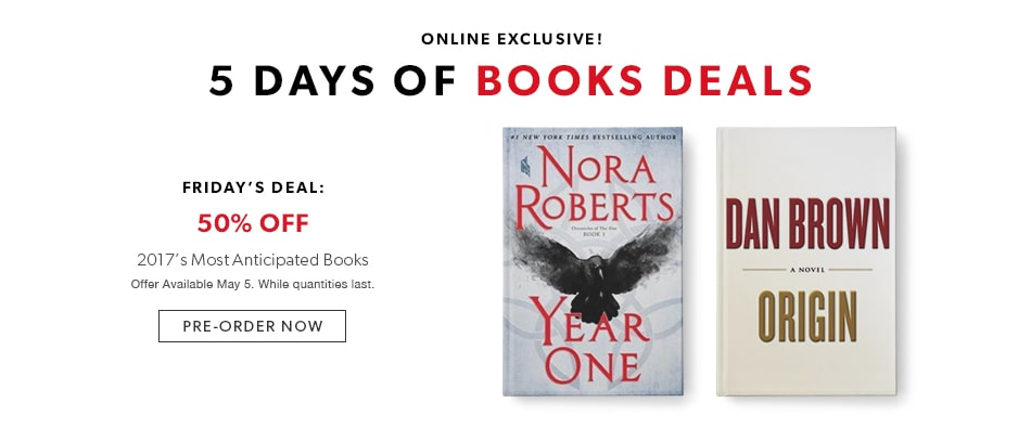 shop 5 days of book deals today - offer available May 5, 2017
