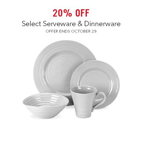 shop serveware and dinnerware now - offer ends October 29, 2017.
