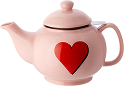 Pink teapot with a red heart on it