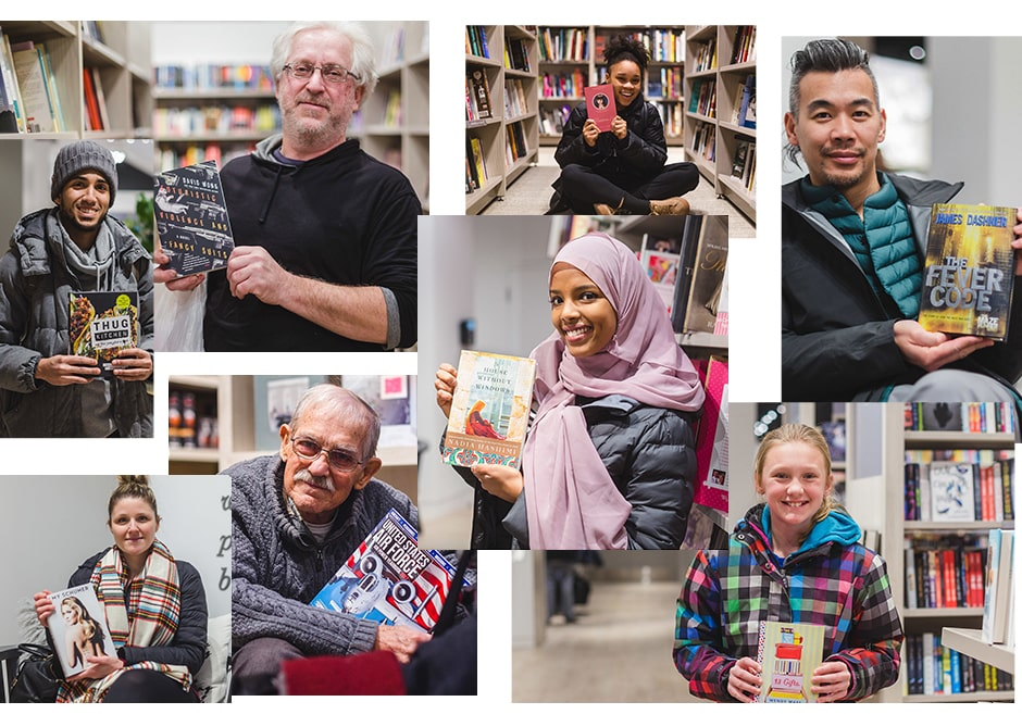 Many photos of smiling people holding books