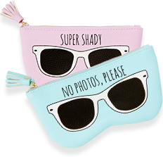 Sunglasses pouch with illustration of sunglasses on outside
