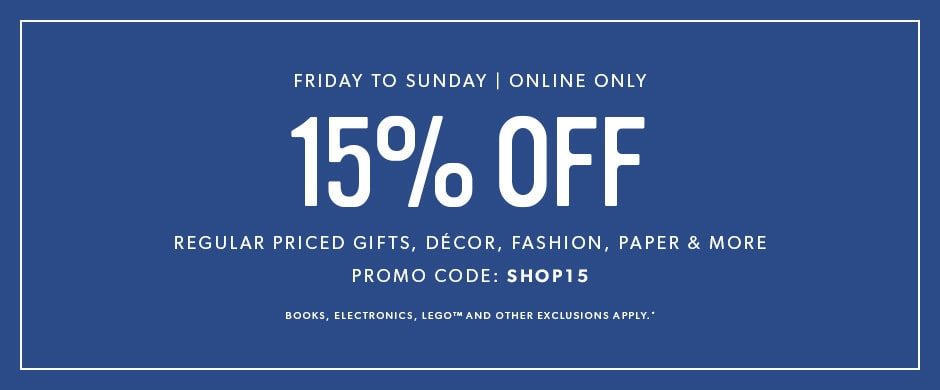 15 off weekends online only chaptersdigo online only some exclusions apply use promo code shop15 fandeluxe Images