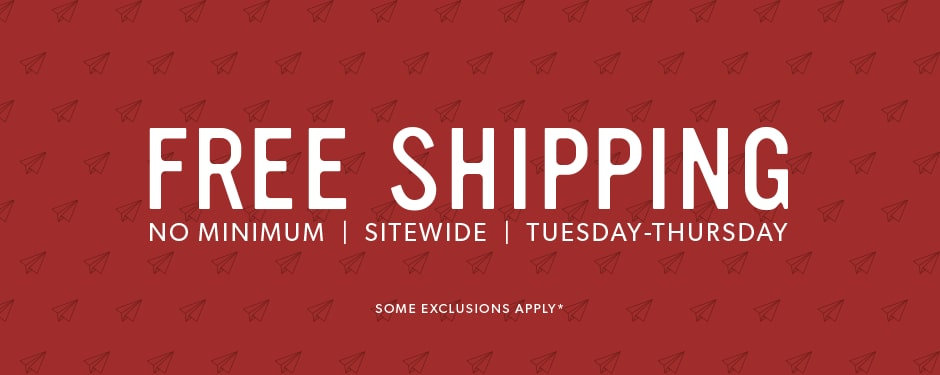 Free Shipping No Minimum - October 9 - 11, 2018