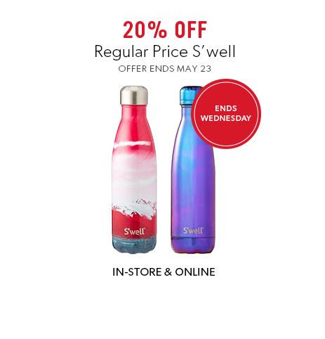 shop S'well water bottles now - offer ends May 23, 2018