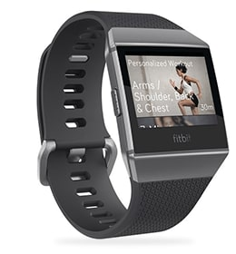 Photo of Fitbit Ionic showing the watch band and screen with menu