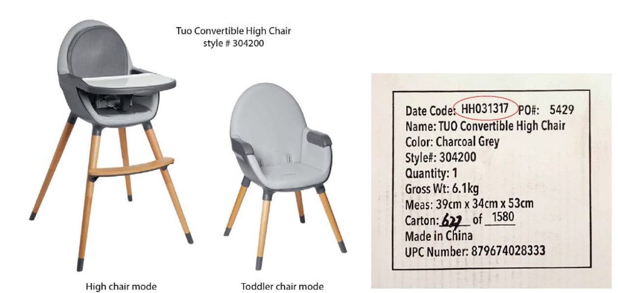 Notice of Manufacturer Skip Hop Convertible High Chair
