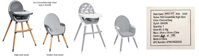 Notice of Manufacturer Tuo Skip Hop Convertible High Chair