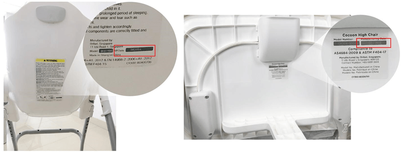Visual representaion of location of compliance sticker on bottom of tray or back of seat