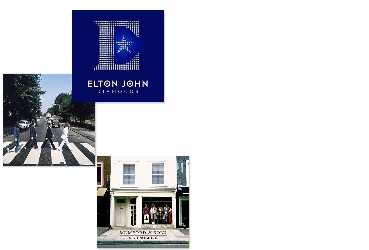 Album covers of Elton John Diamonds, The Beatles Abbey Road and Mumford & Sons Sign No More