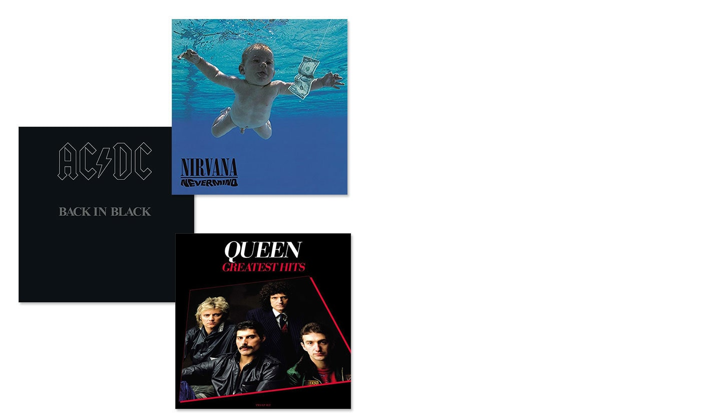 Album covers of Nirvana Nevermind, AC/DC Back in Black and Queen Greatest Hits