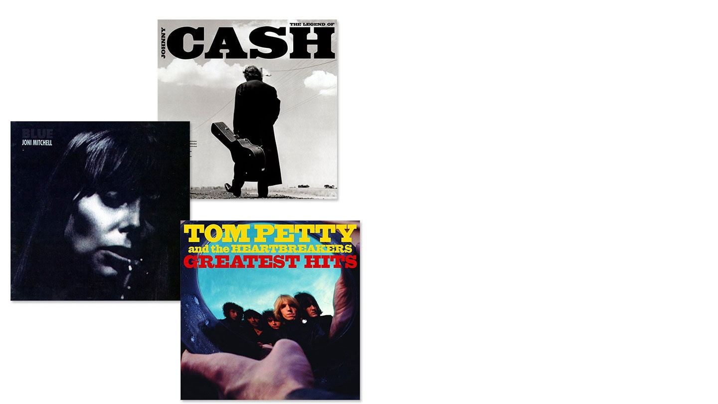Album covers of The Legend of Johnny Cash, Joni Mitchell Blue and Tom Petty and The Heartbreakers Greatest Hits