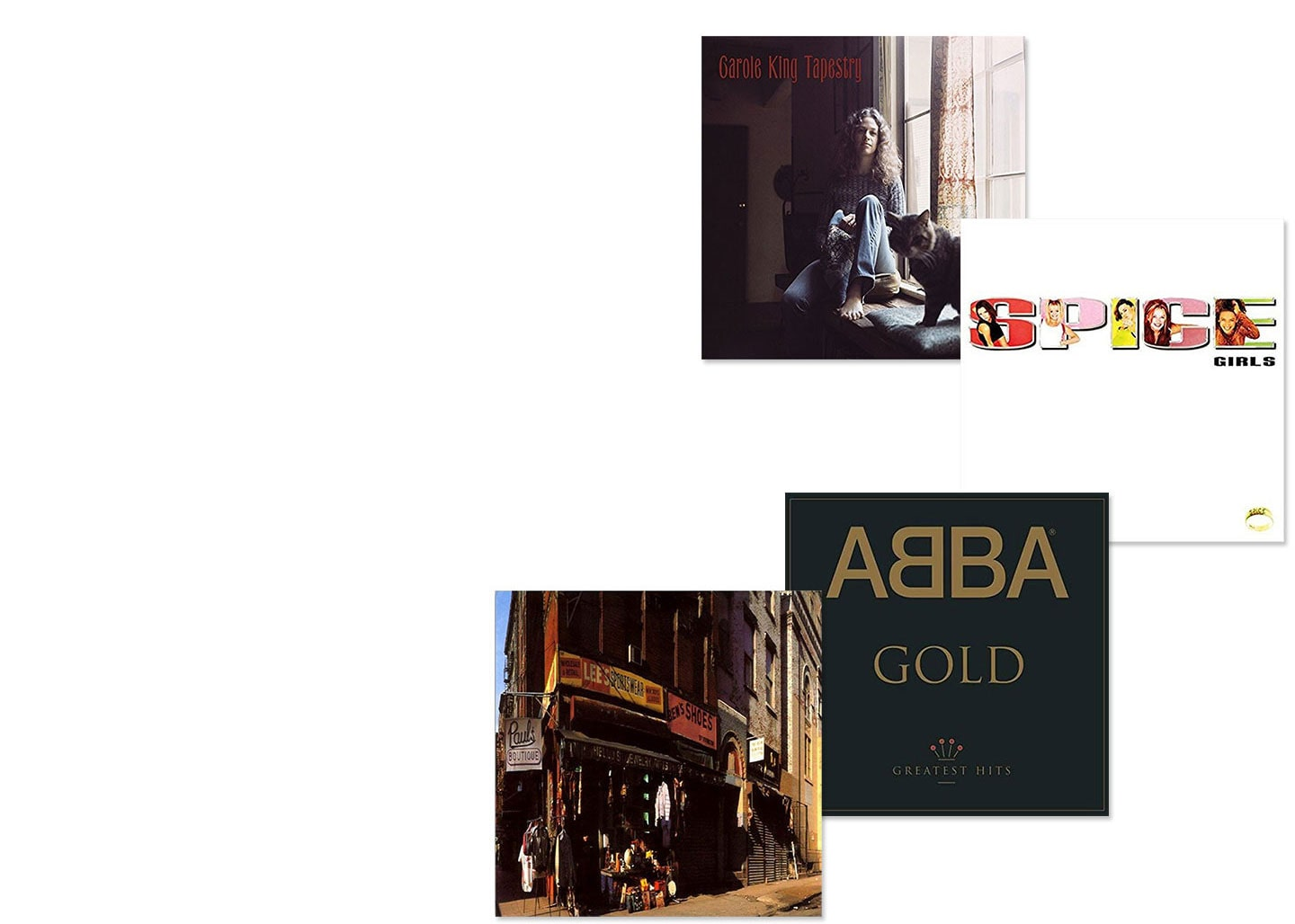 Album covers of Carole King Tapestry, Spice Girls Spice, ABBA Gold Greatest Hits and Beastie Boys Paul's Boutique
