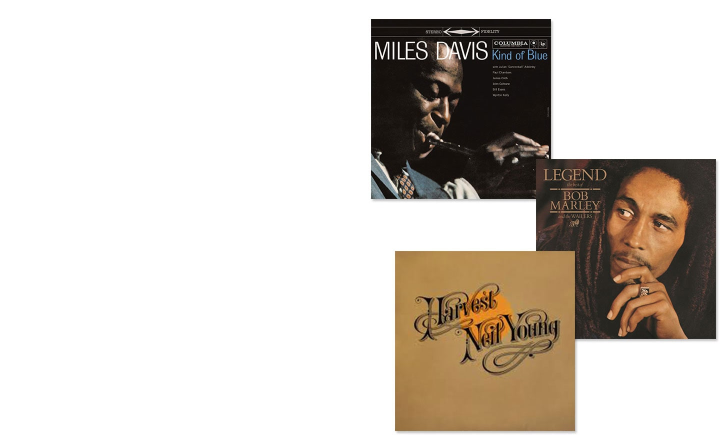 Album covers of Miles Davis Kind of Blue, Bob Marley & the Wailers Legend and Neil Young Harvest