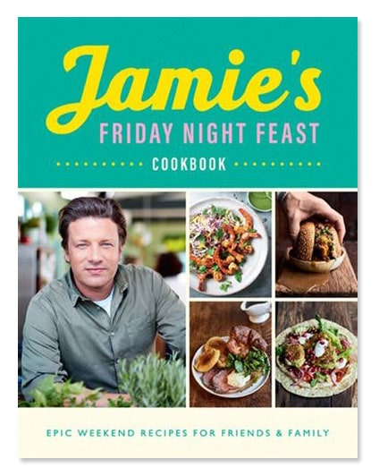 The cover of Jamie's Friday Night Feast cookbook featuring a photo of chef Jamie Oliver and four photos of dinners