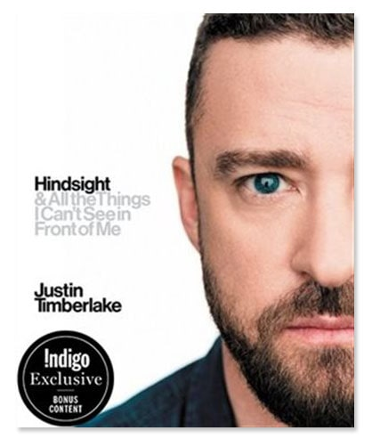The cover of Justin Timberlake's book Hindsight & All The Things I Cannot See In Front Of Me with Justin Timberlake's face