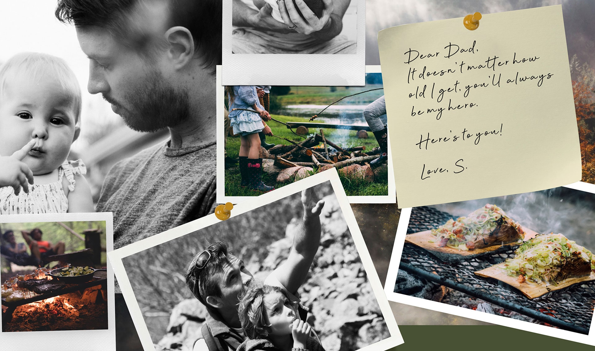 A Father's Day collage of photographs featuring fathers with their children and a handwritten note to dad.