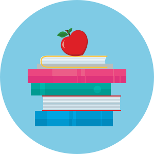 pile of books with an apple on top