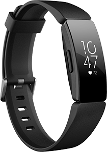 Photo of Fitbit Inspire HR showing the watch band and screen