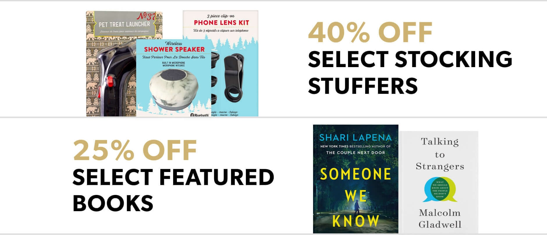 Black Friday In-Store Only: 40% select stocking stuffers & 25% off select featured books