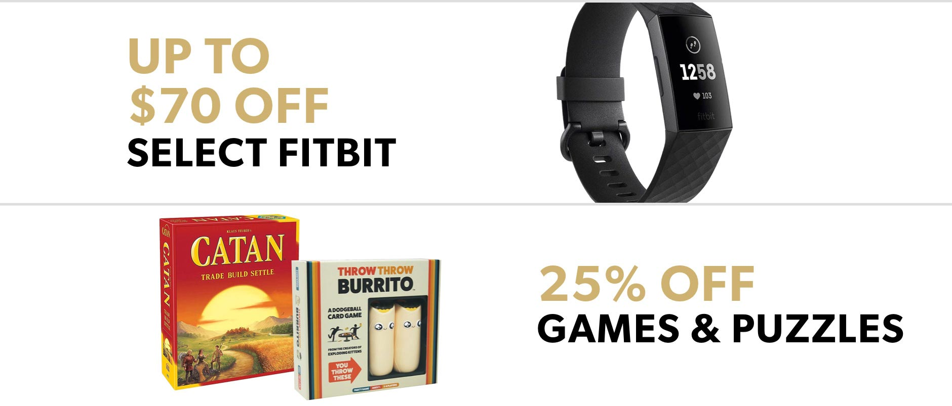 Black Friday In-Store Only: Up to $70 off select Fitbit & 25% off games and puzzles