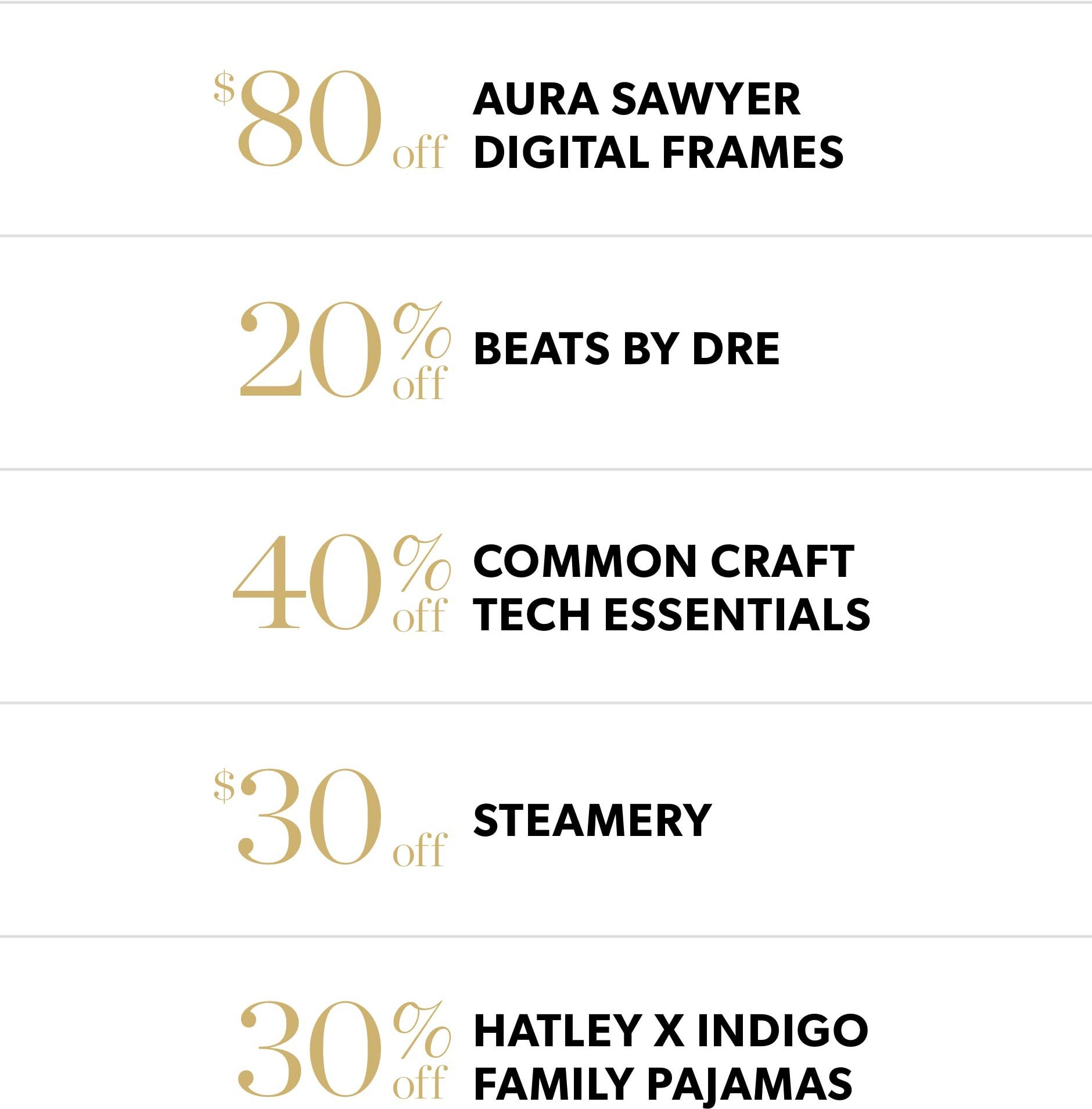 Black Friday In-Store Only: $80 off Aura Sawyer digital frames, 20% off Beats by Dre, 40% off Common Craft tech essentials, $30 off Steamery, & 30% off Hatley x Indigo family pajamas