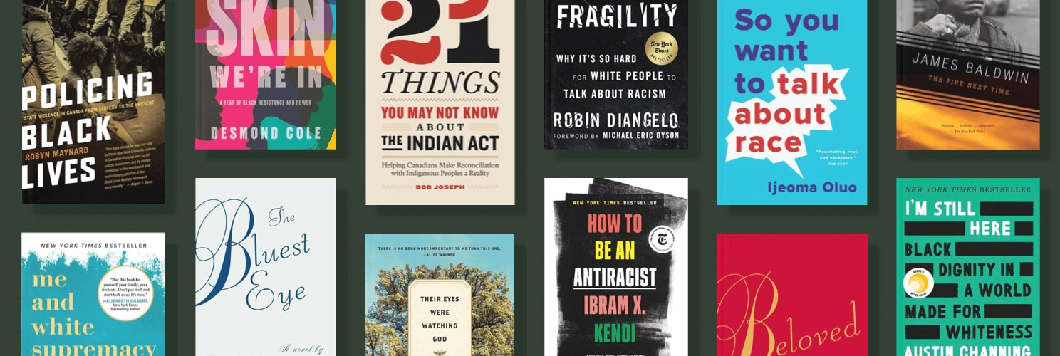 Multiple books laid out on a table for an antiracist reading list.