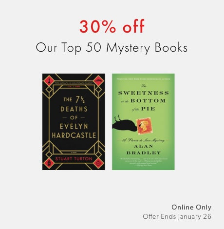shop our top fifty mystery books now - 30% off offer ends January 26, 2020