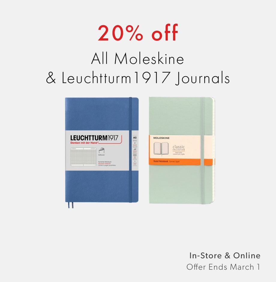 shop Moleskine and Leuchtturm1917 journals now - 20% off offer ends March 1, 2020
