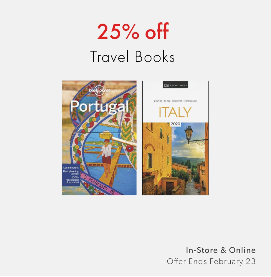 shop 25% off travel books now - offer ends February 23, 2020