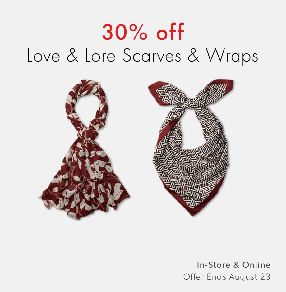 Shop scarves and wraps by Love and Lore now - offer ends August 30, 2020