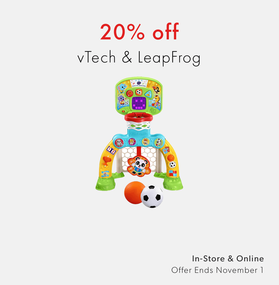 20% off vTech and LeapFrog - shop now - offer ends November 1, 2020