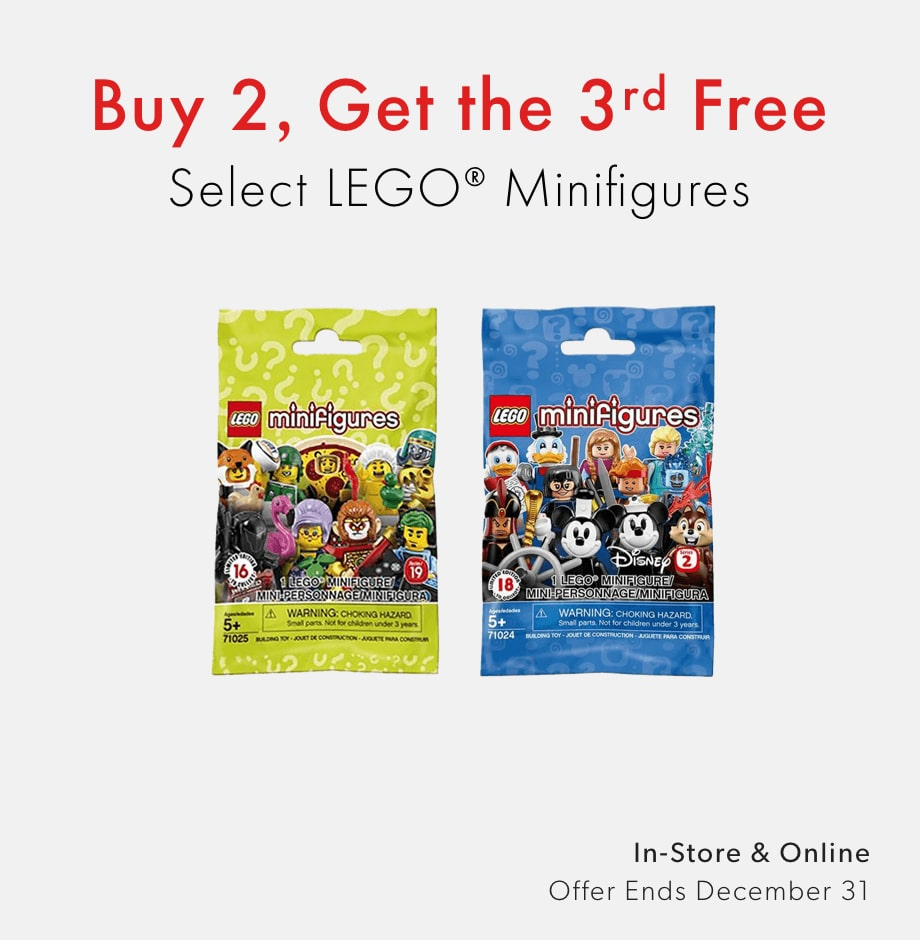 shop LEGO Minifigures now - three for  two offer ends December 31, 2020