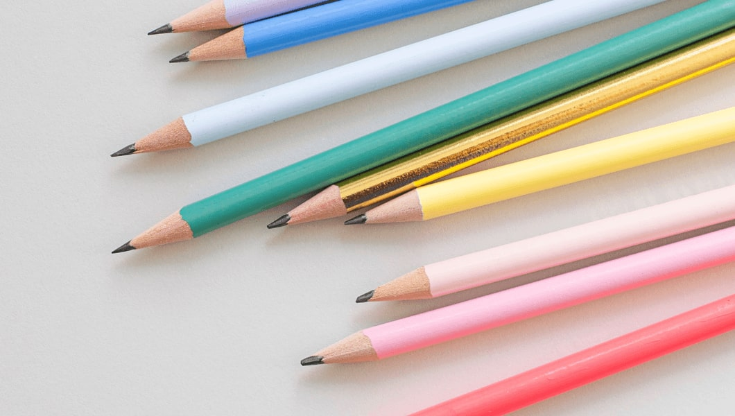 A row of coloured pencils