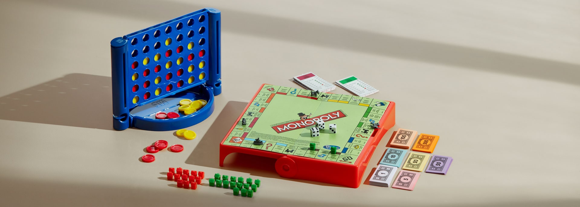 Classic board games including Monopoly and Connect Four