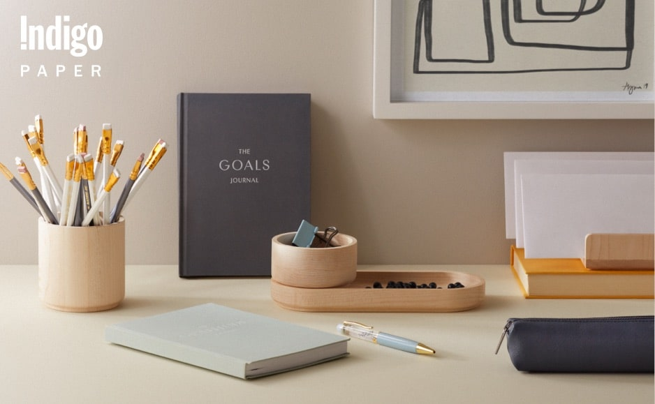 Indigo Paper products including journals and other stationery essentials.