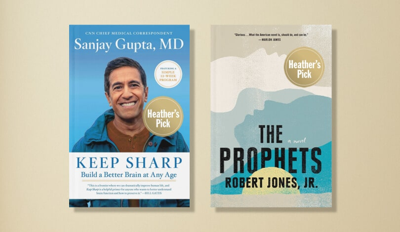 Two books are shown: Keep Sharp by Sanjay Gupta and The Prophets by Robert Jones, Jr.