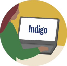 An illustrated person using a laptop on the Indigo website.