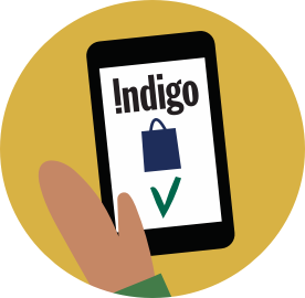 An illustrated of a phone with the Indigo app on the screen.