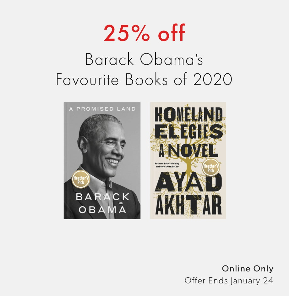 shop 25% off Barak Obama's favourite books of 2020 - offer ends January 24, 2021
