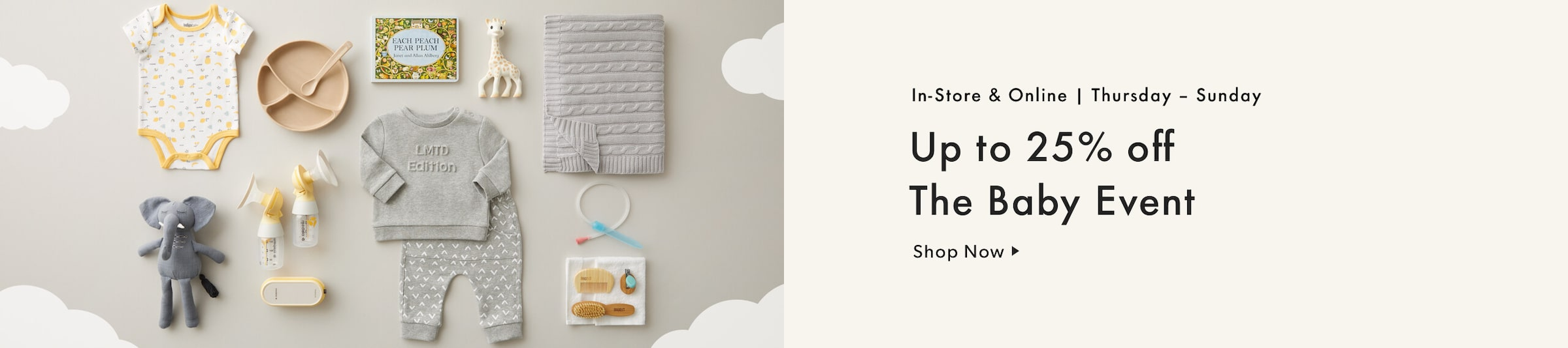 Shop The Baby Event - up to 25% off to Sunday