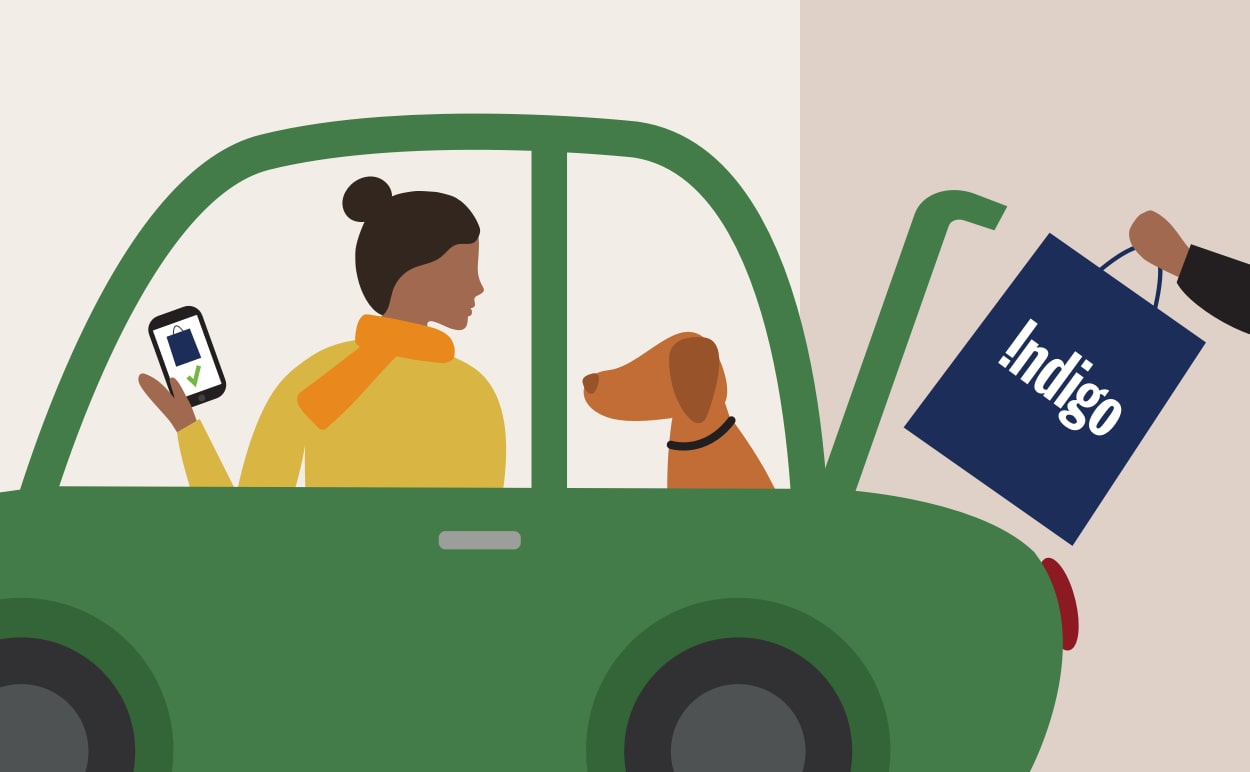 An illustration of a person in a car using Indigo's curbside pickup service.