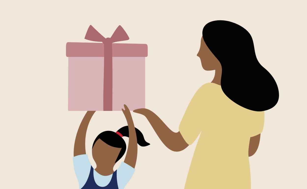 A child gifting a present to their mother.