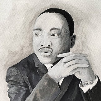 @indigo instagram post: Illustrated image of Martin Luther King Jr. Original art by Indigo's Alex Fronckiewicz.