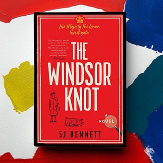 @indigo instagram post: Cover of the Windsor Knot book by SJ Bennet on an a colourful, abstract background.
