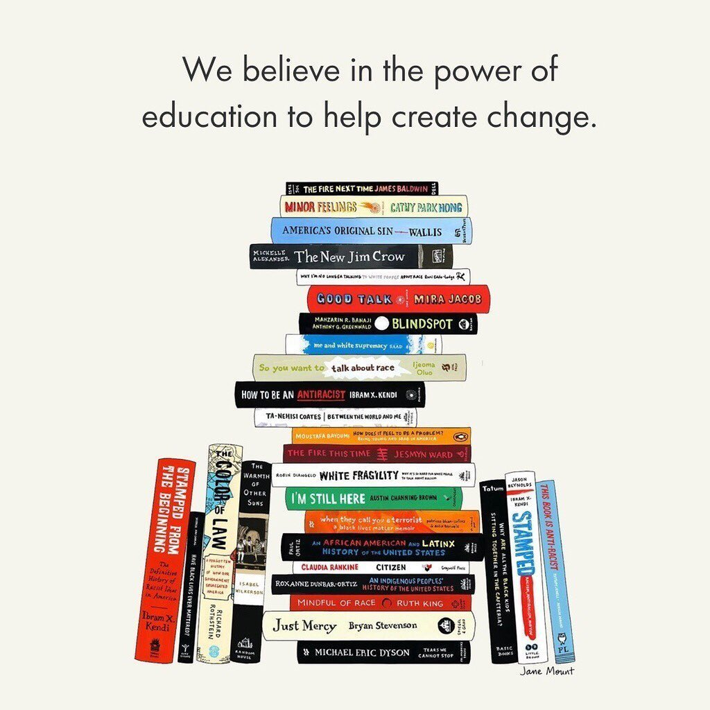 @indigo instagram post: We believe in the power of education to help create change. Visit the link in our bio for our Antiracist Reading List.....