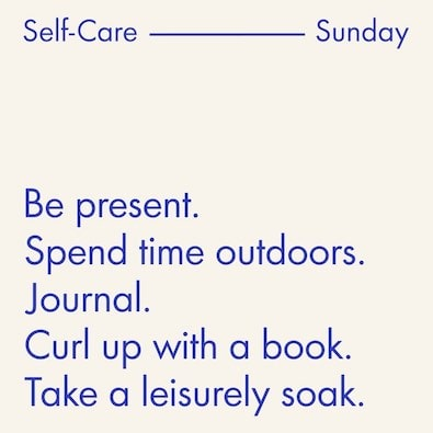 @indigo instagram post: ^ Our to-do List. No matter what says relaxation to you, make it a self-care Sunday with some much-needed me-time. #Self...